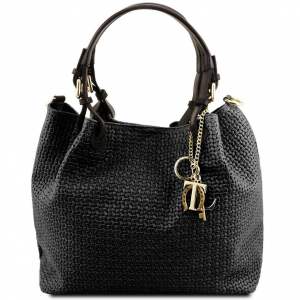 Tuscany Leather TL141573 TL KeyLuck - Woven printed leather shopping bag Black