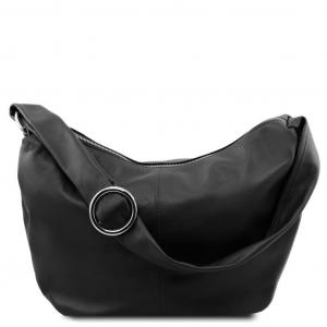 Tuscany Leather TL140900 Yvette - Leather hobo bag Black