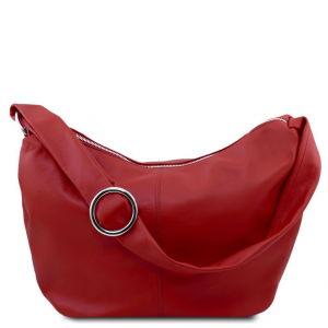 Tuscany Leather TL140900 Yvette - Leather hobo bag Red