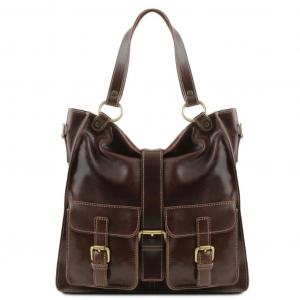 Tuscany Leather TL140928 Melissa - Sac pour femme en cuir Marron foncé
