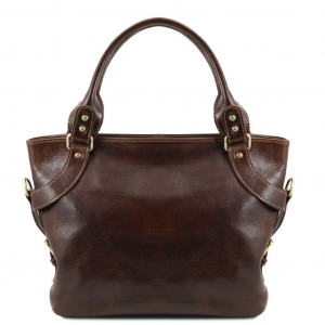 Tuscany Leather TL140899 Ilenia - Leather shoulder bag Dark Brown
