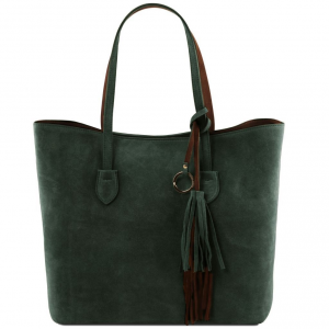 Tuscany Leather TL141639 TL Bag - Suede leather shopping bag Green