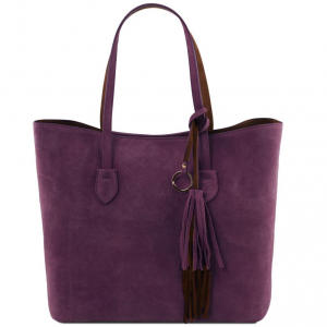 Tuscany Leather TL141639 TL Bag - Suede leather shopping bag Purple