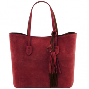 Tuscany Leather TL141639 TL Bag - Suede leather shopping bag Red