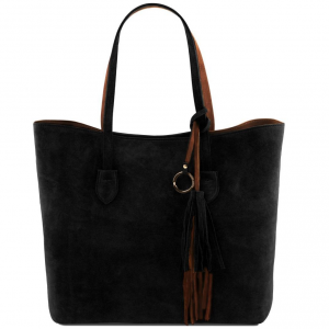 Tuscany Leather TL141639 TL Bag - Sac shopping en cuir suédé Noir
