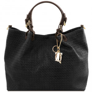 Tuscany Leather TL141568 TL KeyLuck - Sac shopping TL SMART en cuir imprimé tressé - Grand modèle Noir