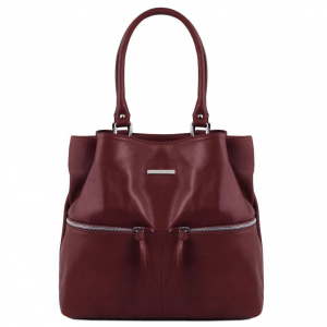 Tuscany Leather TL141722 TL Bag - Leather shoulder bag with front pockets Bordeaux
