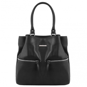 Tuscany Leather TL141722 TL Bag - Leather shoulder bag with front pockets Black