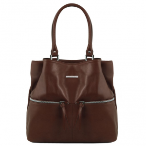Tuscany Leather TL141722 TL Bag - Leather shoulder bag with front pockets Dark Brown