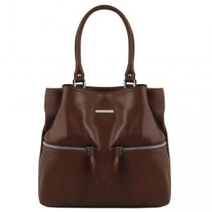 Tuscany Leather TL141722 TL Bag - Sac à épaule en cuir avec poches frontales Marron foncé