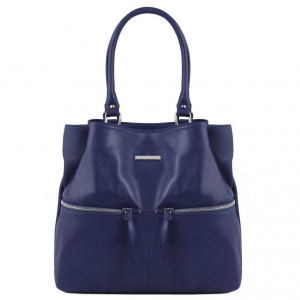 Tuscany Leather TL141722 TL Bag - Leather shoulder bag with front pockets Dark Blue