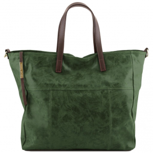 Tuscany Leather TL141552 Annie - Aged effect leather TL SMART shopping bag Green