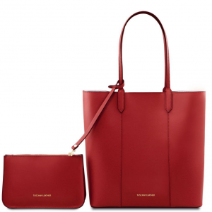 Tuscany Leather TL141709 Dafne - Borsa shopper in pelle Rosso