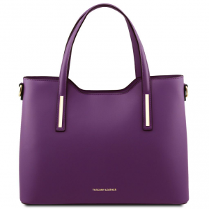 Tuscany Leather TL141412 Olimpia - Borsa shopper in pelle Viola