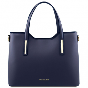 Tuscany Leather TL141412 Olimpia - Leather tote Dark Blue