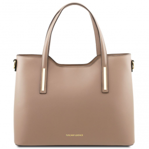 Tuscany Leather TL141412 Olimpia - Leather tote Dark Taupe
