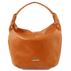 Tuscany Leather TL141721 TL Bag - Borsa hobo in pelle morbida Cognac