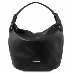 Tuscany Leather TL141721 TL Bag - Soft leather hobo bag Black