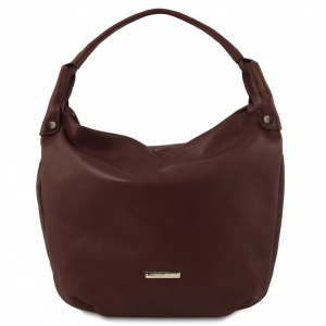 Tuscany Leather TL141721 TL Bag - Sac hobo en cuir souple Marron foncé