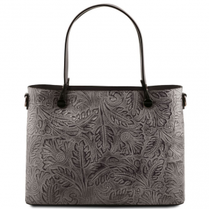 Tuscany Leather TL141655 Atena - Sac shopping en cuir avec motif floral Grey
