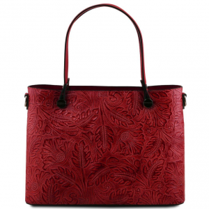 Tuscany Leather TL141655 Atena - Sac shopping en cuir avec motif floral Rouge