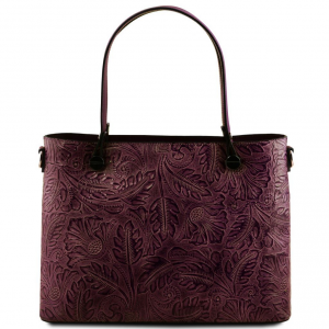 Tuscany Leather TL141655 Atena - Leather shopping bag with floral pattern Bordeaux