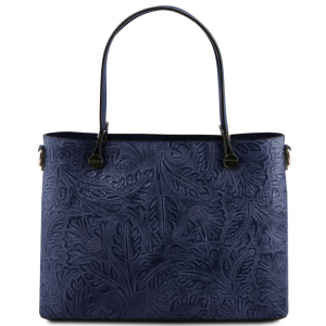 Tuscany Leather TL141655 Atena - Leather shopping bag with floral pattern Dark Blue