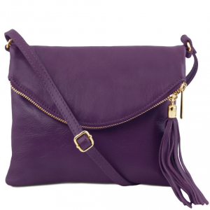 Tuscany Leather TL141153 TL Young Bag - Sac bandoulière avec pompon Violet