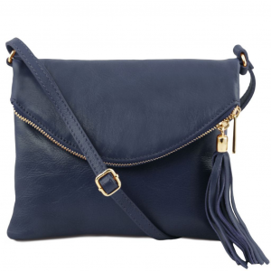 Tuscany Leather TL141153 TL Young bag - Shoulder bag with tassel detail Dark Blue