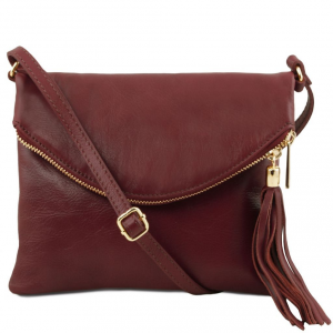 Tuscany Leather TL141153 TL Young Bag - Sac bandoulière avec pompon Bordeaux