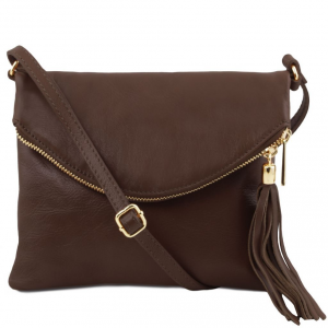 Tuscany Leather TL141153 TL Young Bag - Sac bandoulière avec pompon Marron foncé