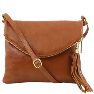 Tuscany Leather TL141153 TL Young bag - Shoulder bag with tassel detail Cognac