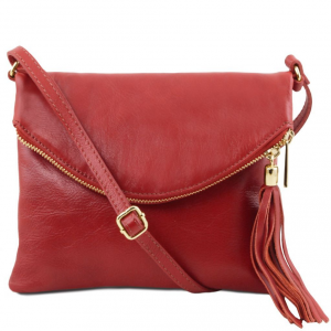 Tuscany Leather TL141153 TL Young Bag - Sac bandoulière avec pompon Rouge