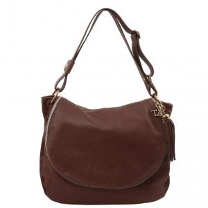 Tuscany Leather TL141110 TL Bag - Sac bandoulière besace en cuir souple avec pompon Marron foncé