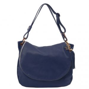 Tuscany Leather TL141110 TL Bag - Soft leather shoulder bag with tassel detail Dark Blue