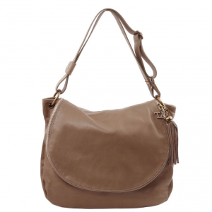 Tuscany Leather TL141110 TL Bag - Soft leather shoulder bag with tassel detail Dark Taupe
