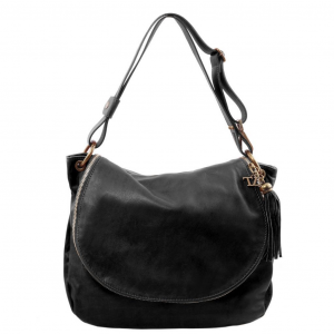 Tuscany Leather TL141110 TL Bag - Soft leather shoulder bag with tassel detail Black
