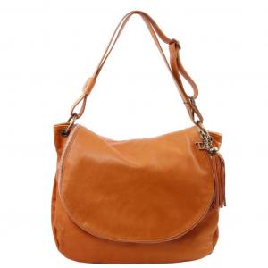 Tuscany Leather TL141110 TL Bag - Sac bandoulière besace en cuir souple avec pompon Cognac