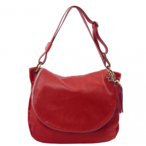 Tuscany Leather TL141110 TL Bag - Soft leather shoulder bag with tassel detail Red