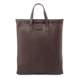 Tuscany Leather TL141680 TL Bag - Sac bandoulière vertical en cuir souple Marron foncé