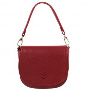 Tuscany Leather TL141726 Rosa - Leather clutch with shoulder strap Red