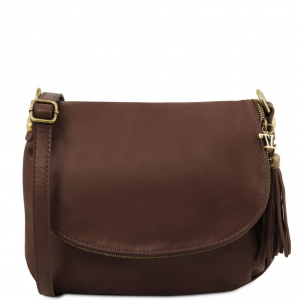 Tuscany Leather TL141223 TL Bag - Sac bandoulière besace en cuir souple avec pompon Marron foncé
