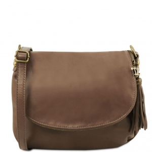 Tuscany Leather TL141223 TL Bag - Soft leather shoulder bag with tassel detail Dark Taupe