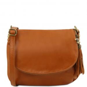 Tuscany Leather TL141223 TL Bag - Sac bandoulière besace en cuir souple avec pompon Cognac