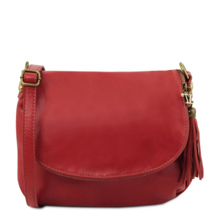 Tuscany Leather TL141223 TL Bag - Sac bandoulière besace en cuir souple avec pompon Rouge