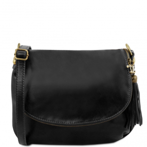 Tuscany Leather TL141223 TL Bag - Soft leather shoulder bag with tassel detail Black