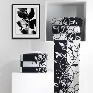 Coppia di asciugamani in spugna Carrara TIFFANY bianco e nero