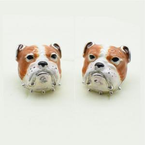 Gemelli uomo in smalto ed argento 925 a forma di Cane Bulldog vendita on line | GIOIELLERIA BRUNI Imperia