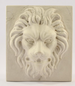 Lion'S Head Carved In Marble Paperweight Handmade Italian Craftsmanship