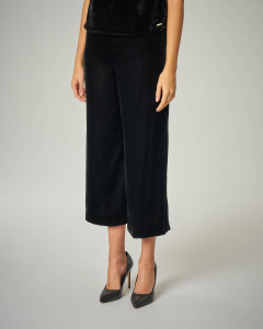 Pantaloni culotte in velluto nero